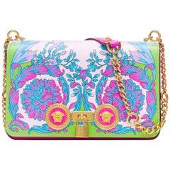 new VERSACE Medium Icon SS19 Runway Technicolor Baroque print dual Medusa bag