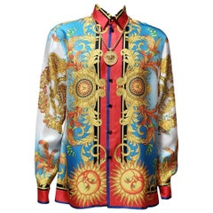 NEW VERSACE MEDUSA BAROQUE PRINTED 100% SILK GOLD/BLUE/RED/WHITE SHIRT It 50 - L