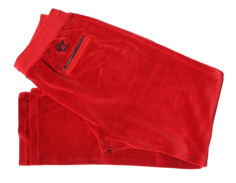 New Versace Medusa Men's Sweatpants Designer sizes Available - M, L, XL Red Velvet Sweatpants with Black Leather Trim Elasticated Waistband with drawstring fastening Gold-tone hardware finished with Versace Logo Side Slit Pockets and Rear Pocket