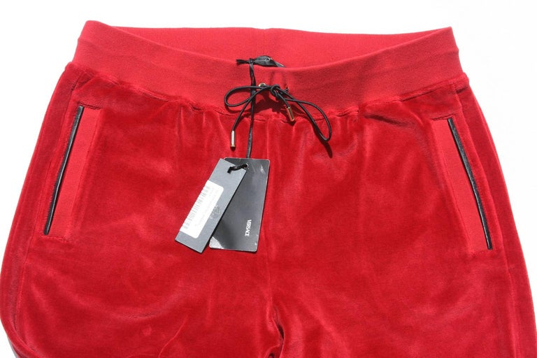 New Versace Medusa Men's Red Velvet Sweatpants Black Leather Trim sizes M, L, XL In New Condition For Sale In Montgomery, TX