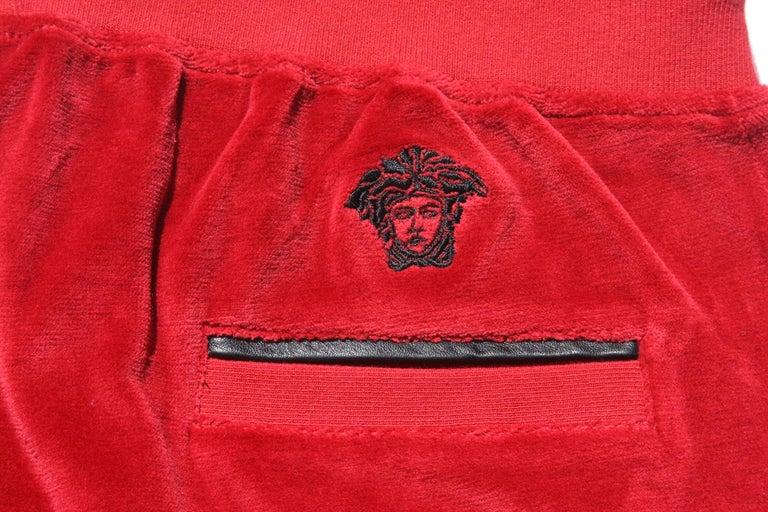 New Versace Medusa Men's Red Velvet Sweatpants Black Leather Trim sizes M, L, XL For Sale 1