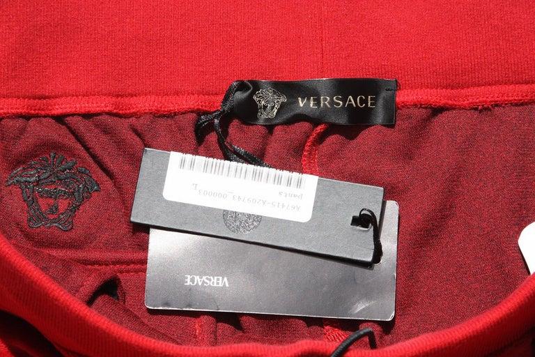 New Versace Medusa Men's Red Velvet Sweatpants Black Leather Trim sizes M, L, XL For Sale 2