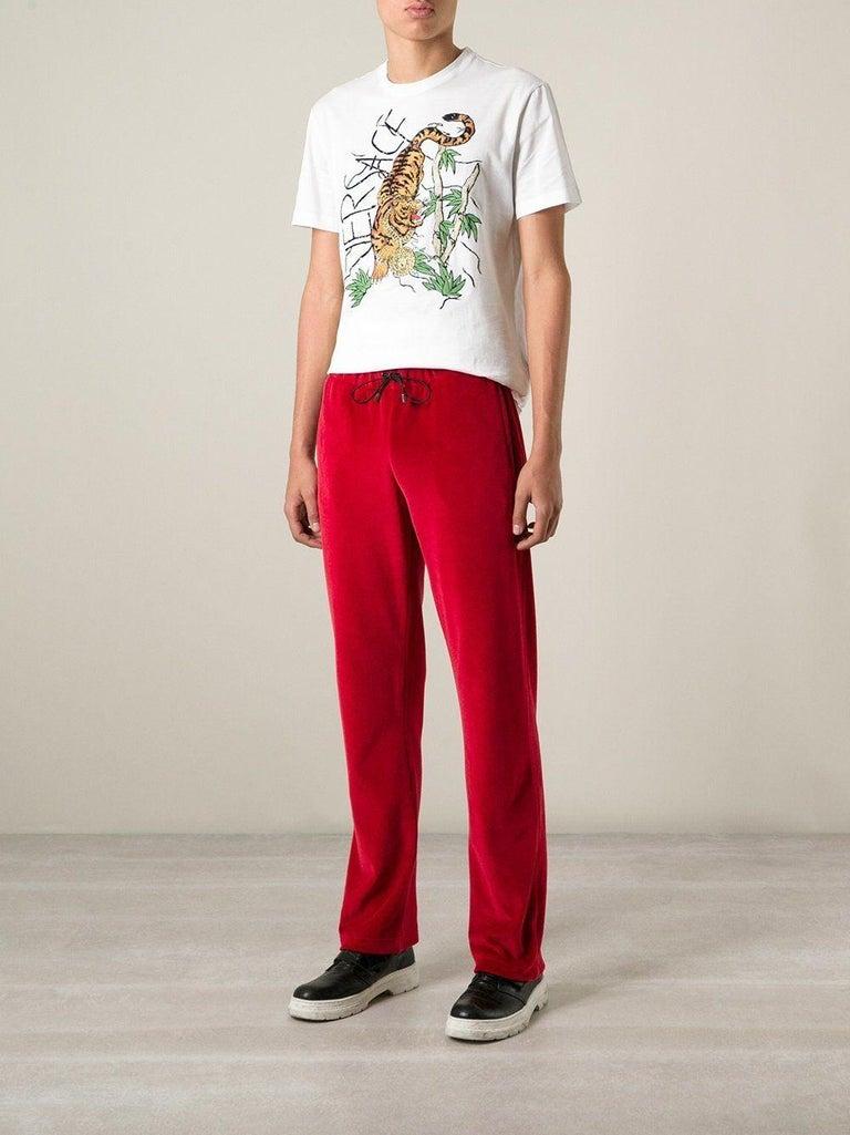 New Versace Medusa Men's Red Velvet Sweatpants Black Leather Trim sizes M, L, XL For Sale 3