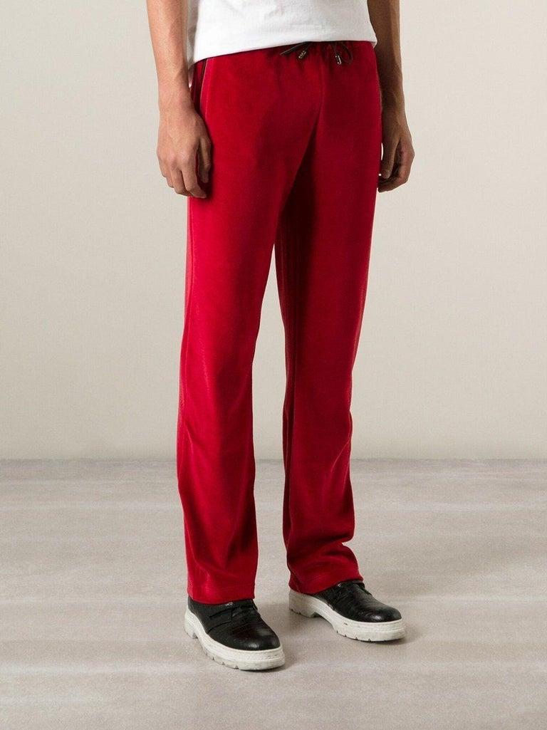 New Versace Medusa Men's Red Velvet Sweatpants Black Leather Trim sizes M, L, XL For Sale 4