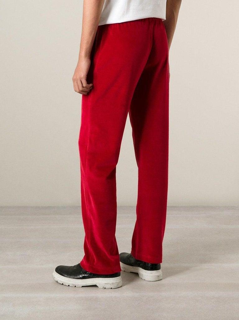 New Versace Medusa Men's Red Velvet Sweatpants Black Leather Trim sizes M, L, XL For Sale 5
