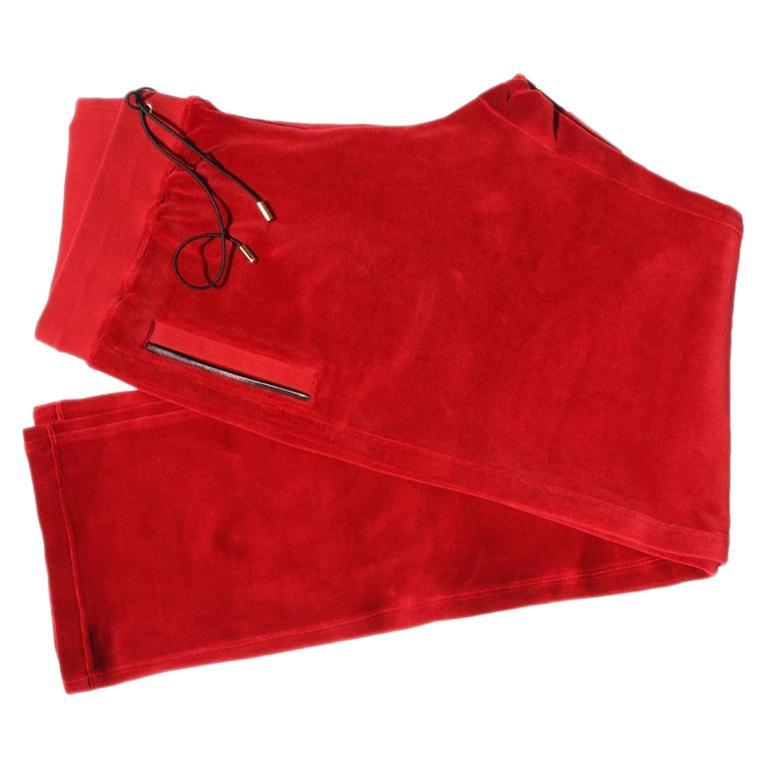 New Versace Medusa Men's Red Velvet Sweatpants Black Leather Trim sizes M, L, XL For Sale
