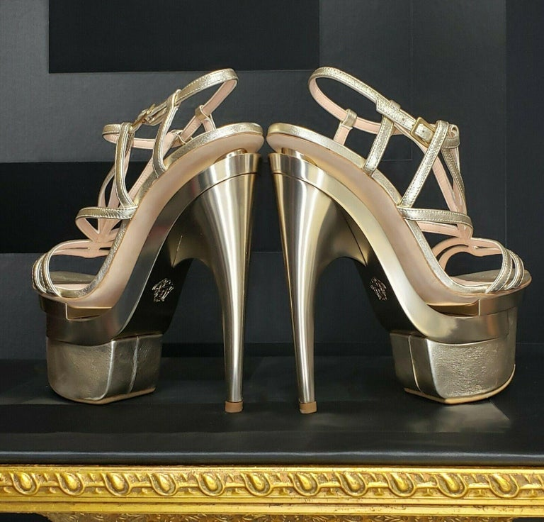 Brown New Versace Metallic leather platform sandals For Sale