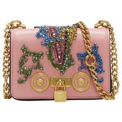 New VERSACE Mini Icon pink baroque Swarovski crystal embellished shoulder bag