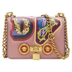 New VERSACE Mini Icon pink multi baroque alphabet patch gold chain shoulder bag
