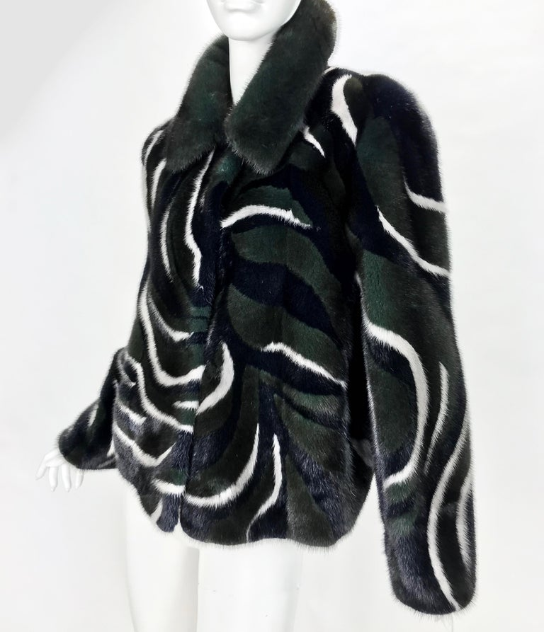 New Versace Mink Fur Jacket  This jacket is made from hand-dyed mink with a buttery leather backing.  IT Size 38  Unlined  New, with tags