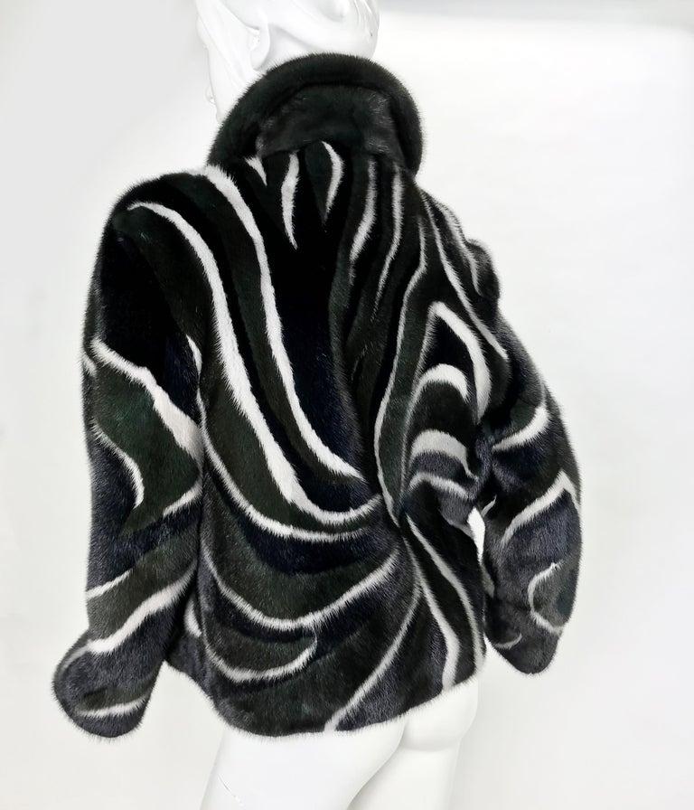Black New Versace Mink Fur Jacket For Sale