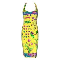 NEW Versace Multicolor Floral Print Silk Medusa Dress as seen on Nicolette