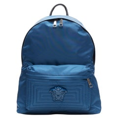 new VERSACE navy blue Palazzo Medusa Greca nylon stitching pocket backpack bag