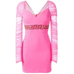 New Versace Neon Pink Crystal Embellished Draped Tulle Crepe Mini Dress 4, 6, 8