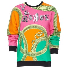 new VERSACE neon pink orange green logo gold barocco pullover jumper sweats XL