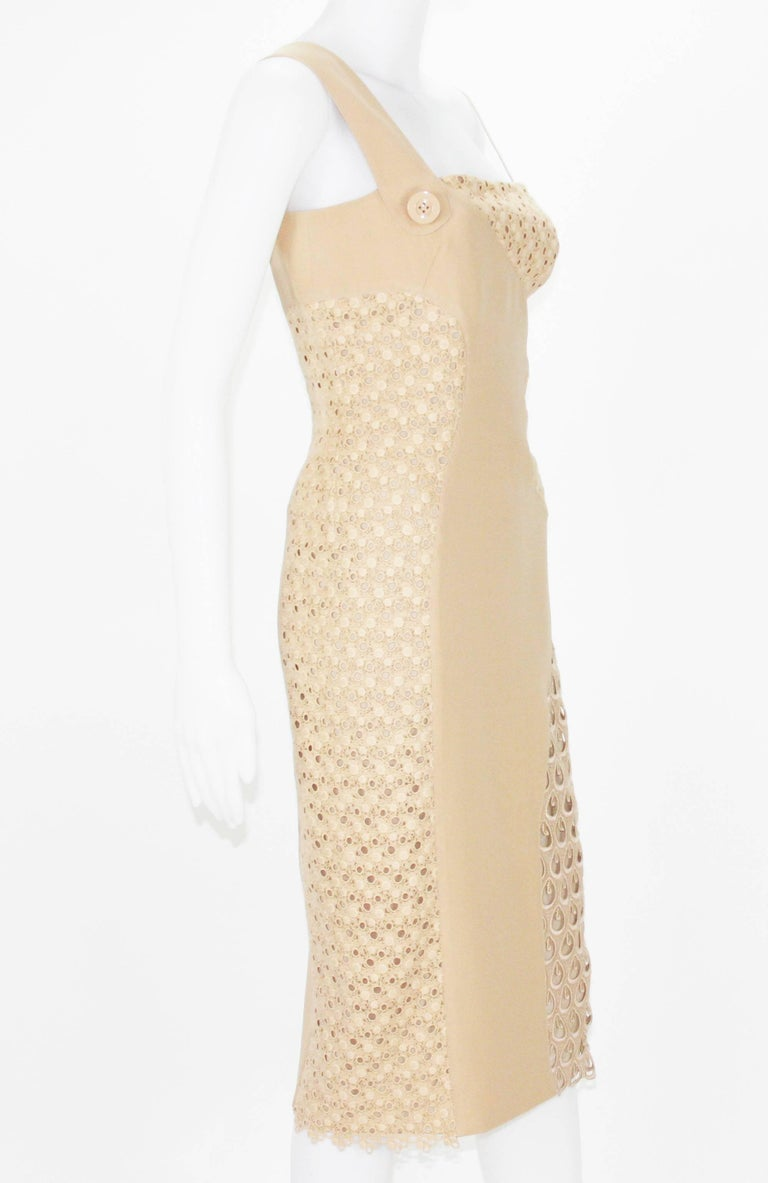 Versace's crocheted cotton and silk-cady one-shoulder dress in a wear-with-anything nude hue will make a striking addition to your party portfolio. Team this textural runway piece with strappy sandals and elevate the look with a color-shock