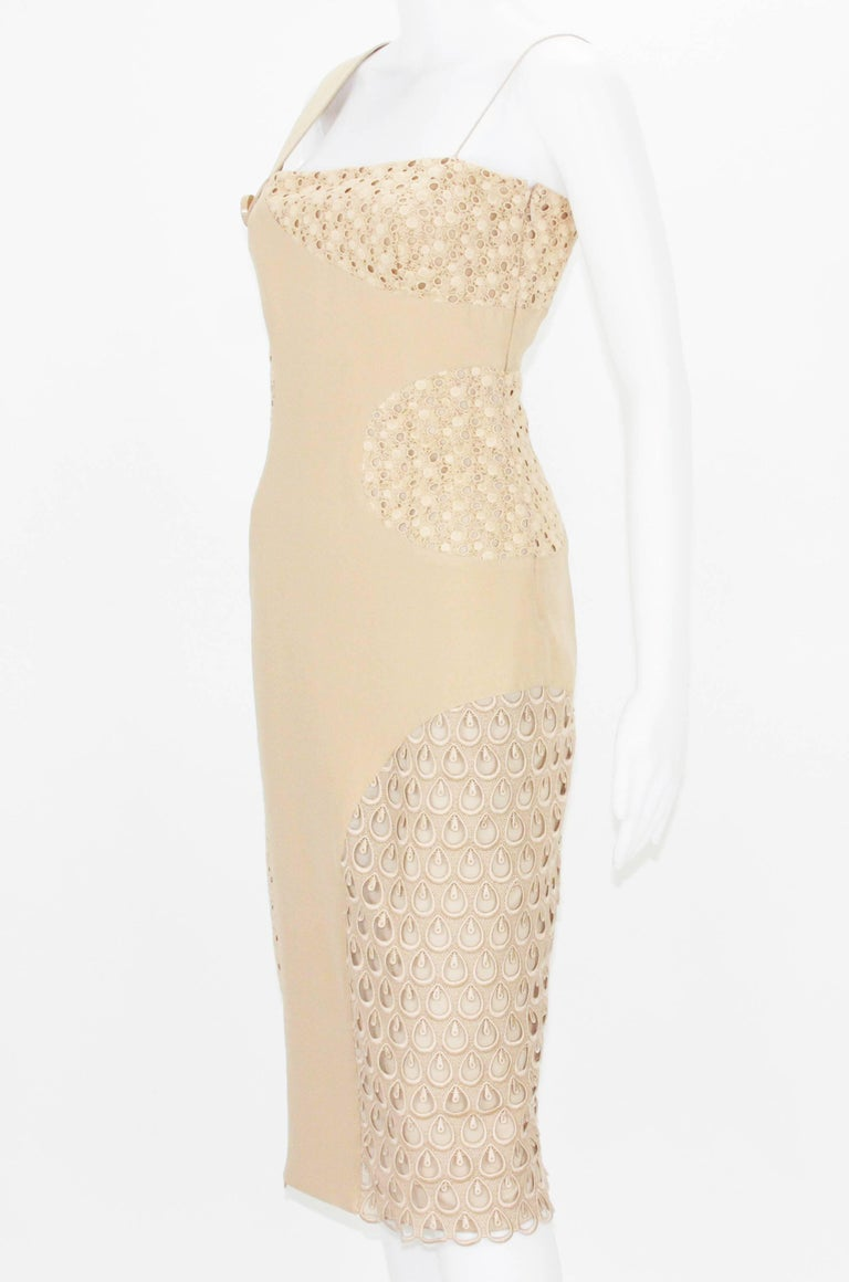 Beige New Versace Nude Crocheted Cotton and Silk-Cady One-Shoulder Dress 40 For Sale