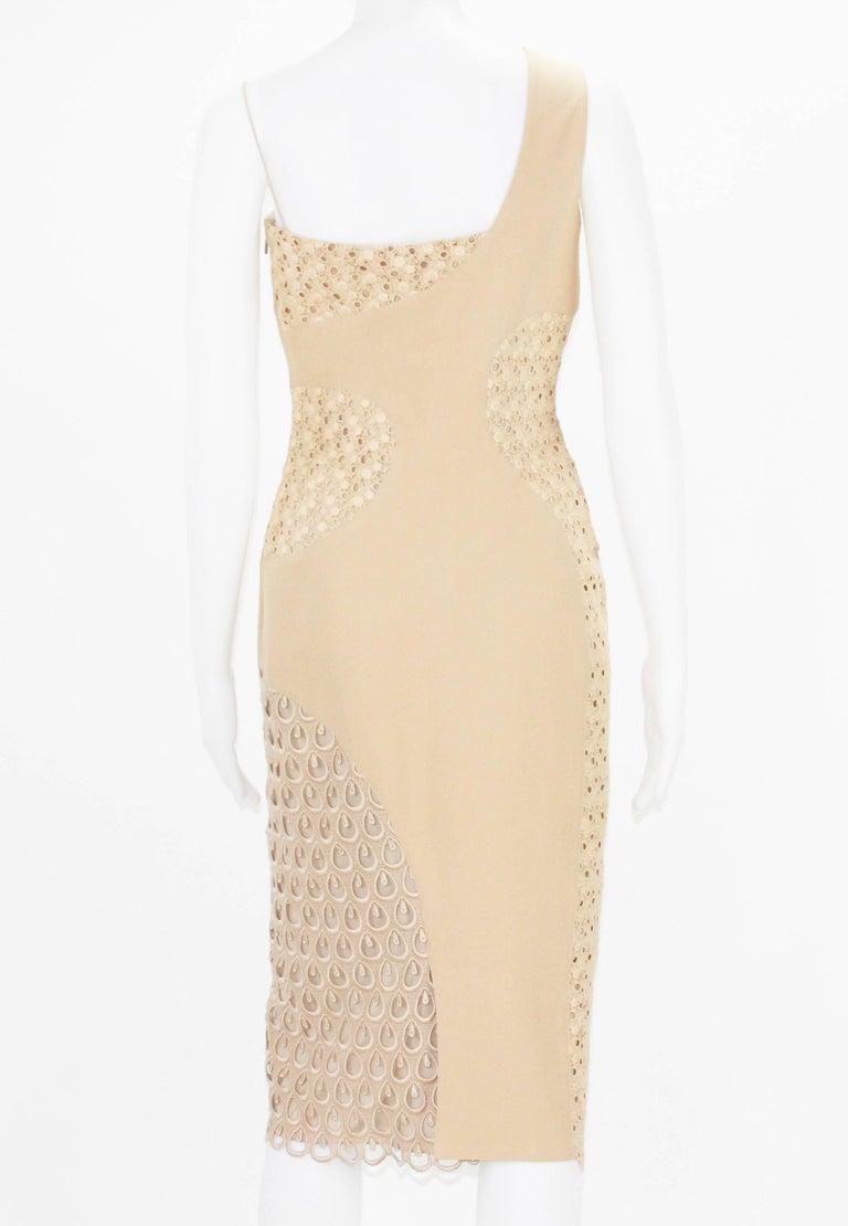 New Versace Nude Crocheted Cotton and Silk-Cady One-Shoulder Dress 40 In New Condition For Sale In Montgomery, TX