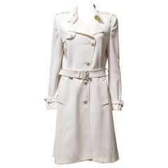 New VERSACE OFF WHITE TRENCH COAT IT 46
