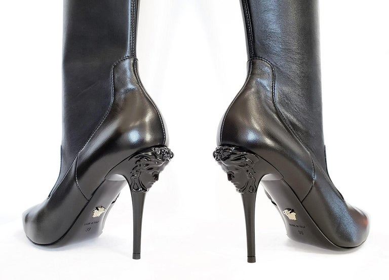 05e1cf24 New Versace Palazzo Black Stretch Leather Thigh High Boots w/ Medusa Heel  39 - 9