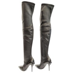 New Versace Palazzo Black Stretch Leather Thigh High Boots w/ Medusa Heel 39 - 9