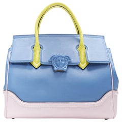 New VERSACE Palazzo Empire blue pink yellow calf leather Medusa shoulder bag