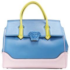 new VERSACE Palazzo Empire blue pink yellow calf Medusa large shoulder bag