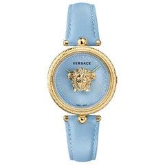 new VERSACE Palazzo Empire gold plated Greca bezel Medusa blue 39mm ladies watch