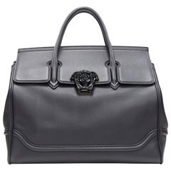 new VERSACE Palazzo Empire Large black calf leather Medusa shoulder strap bag