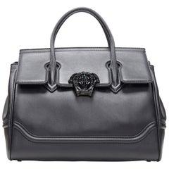 new VERSACE Palazzo Empire Medium classic black calf leather Medusa satchel bag