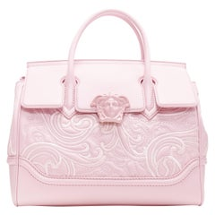 new VERSACE Palazzo Empire pink leather embroidery Medusa flap shoulder bag