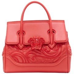 new VERSACE Palazzo Empire Small Baroque Embroidery red Medusa head satchel bag