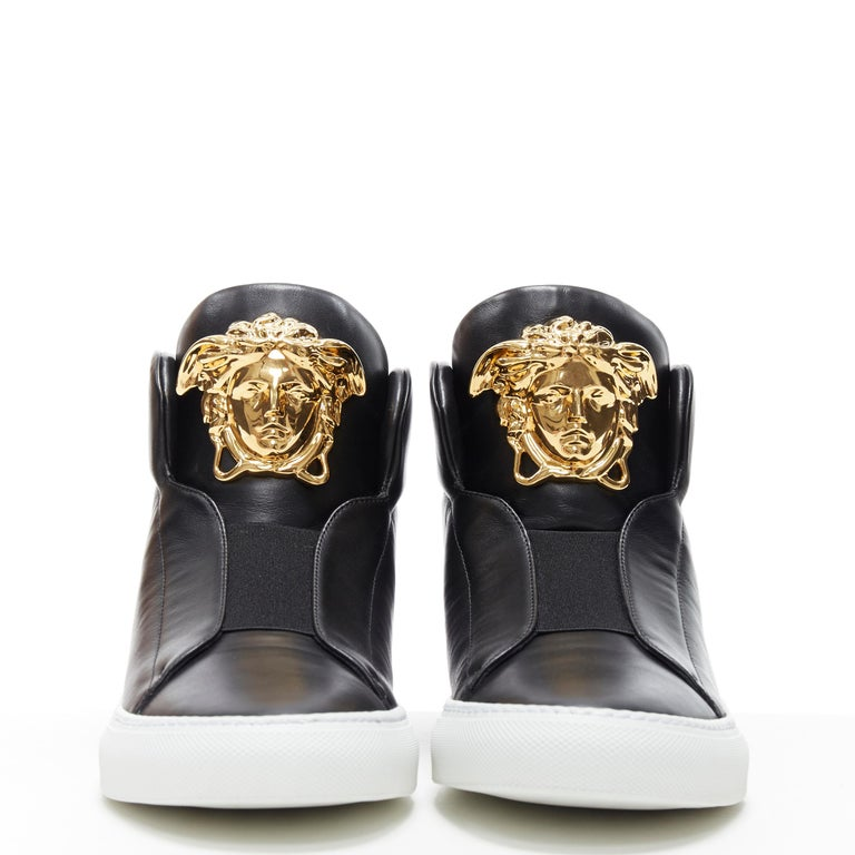 Black new VERSACE Palazzo gold Medusa black calfskin leather high top sneaker EU40 For Sale