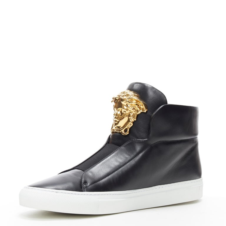 new VERSACE Palazzo gold Medusa black calfskin leather high top sneaker EU40 In New Condition For Sale In Hong Kong, NT