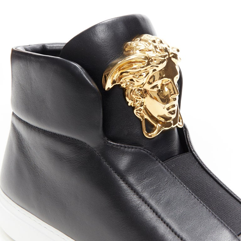 new VERSACE Palazzo gold Medusa black calfskin leather high top sneaker EU40 For Sale 3