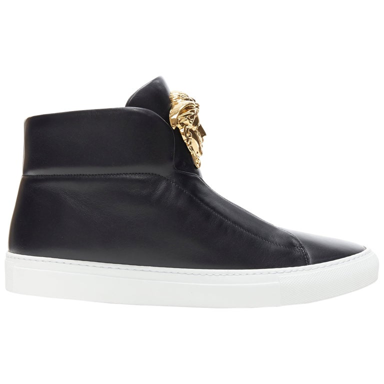 new VERSACE Palazzo gold Medusa black calfskin leather high top sneaker EU40 For Sale