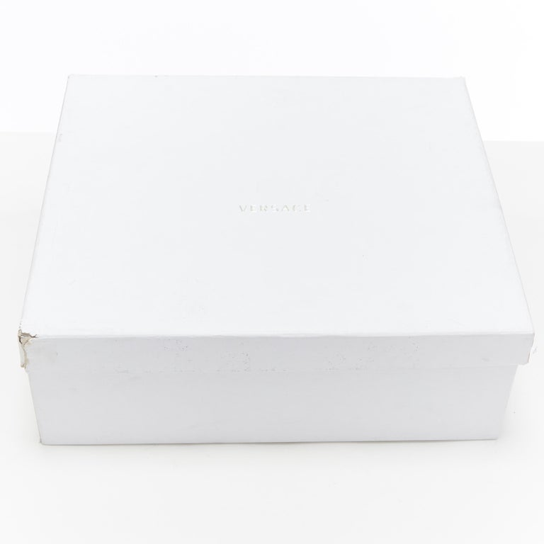 new VERSACE Palazzo gold Medusa white calfskin leather high top sneaker EU40 For Sale 7