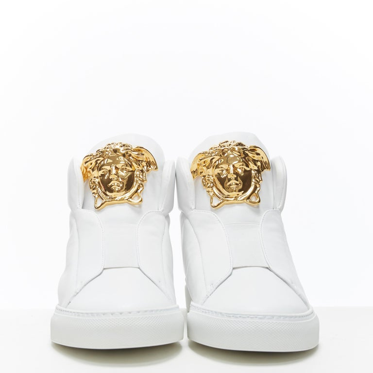 Gray new VERSACE Palazzo gold Medusa white calfskin leather high top sneaker EU40 For Sale