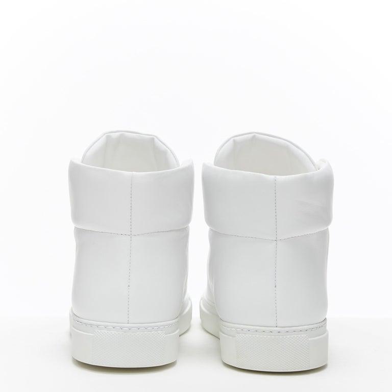 Women's new VERSACE Palazzo gold Medusa white calfskin leather high top sneaker EU40 For Sale