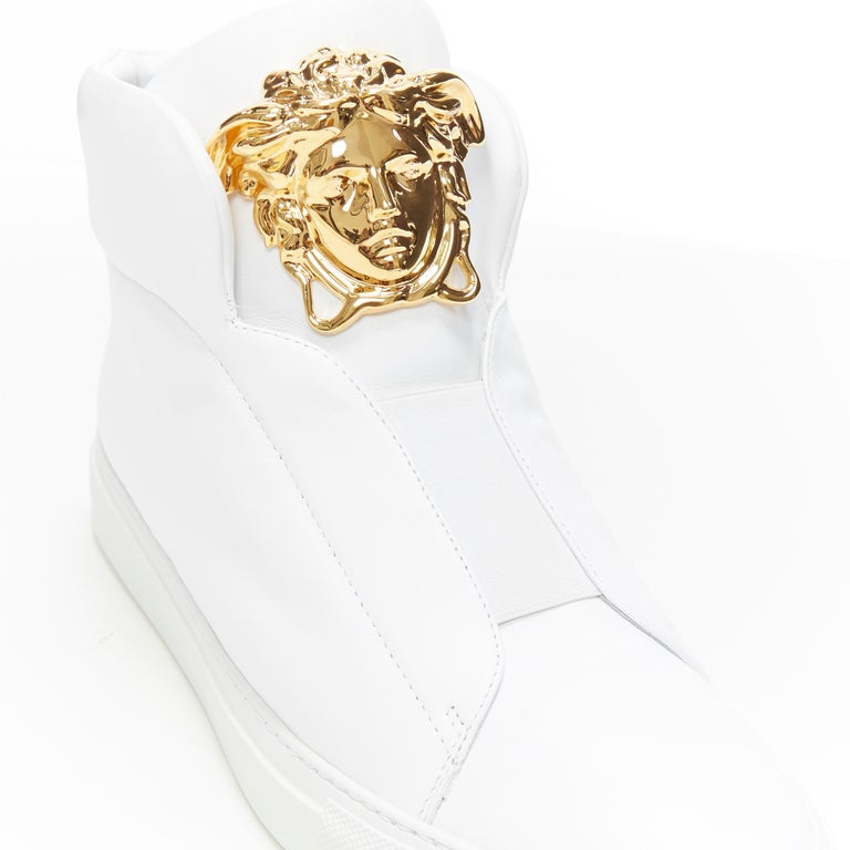 new VERSACE Palazzo gold Medusa white calfskin leather high top sneaker EU40 For Sale 2