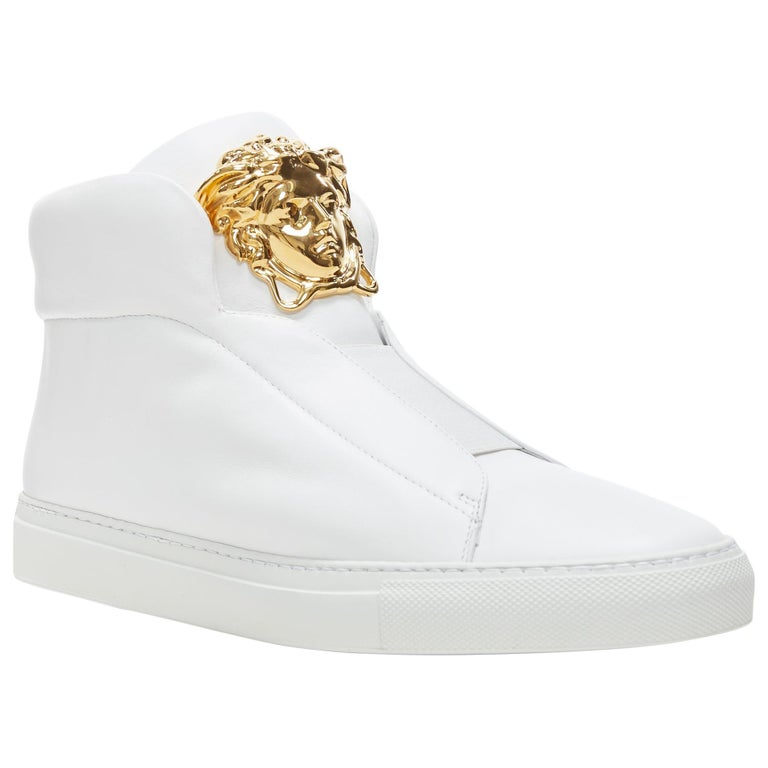 new VERSACE Palazzo gold Medusa white calfskin leather high top sneaker EU40 For Sale