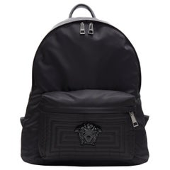 new VERSACE Palazzo Medusa black nylon Greca pocket backpack bag