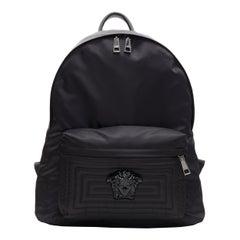 new VERSACE Palazzo Medusa black nylon Greca stitch front pocket backpack bag