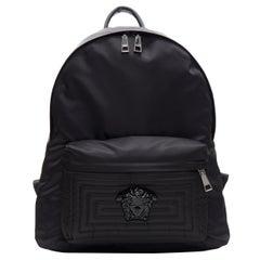 new VERSACE Palazzo Medusa black nylon Greca stitch front pocket backpack