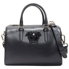 new VERSACE Palazzo Medusa black saffiano leather small speedy boston cross bag