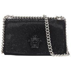 New Versace Palazzo Medusa black strass embellished flap silver chunky chain bag