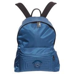 new VERSACE Palazzo Medusa blue nylon Greca stitch front pocket backpack bag
