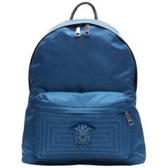 new VERSACE Palazzo Medusa blue nylon Greca stitch front pocket backpack