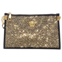 new VERSACE Palazzo Medusa gold crystal strass black goat clutch crossbody bag