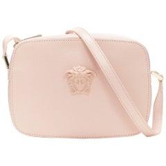 new VERSACE Palazzo Medusa head blush pink saffiano leather crossbody camera bag